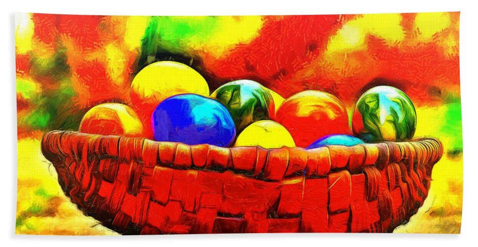 Basket Hand Towel featuring the painting Basket Of Eggs - Pa by Leonardo Digenio