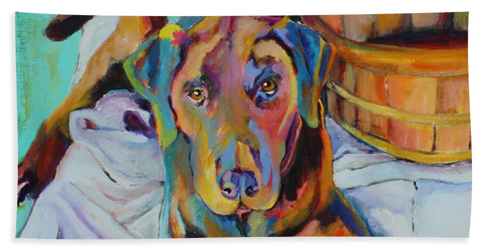Chocolate Lab Bath Towel featuring the painting Basket Retriever by Pat Saunders-White
