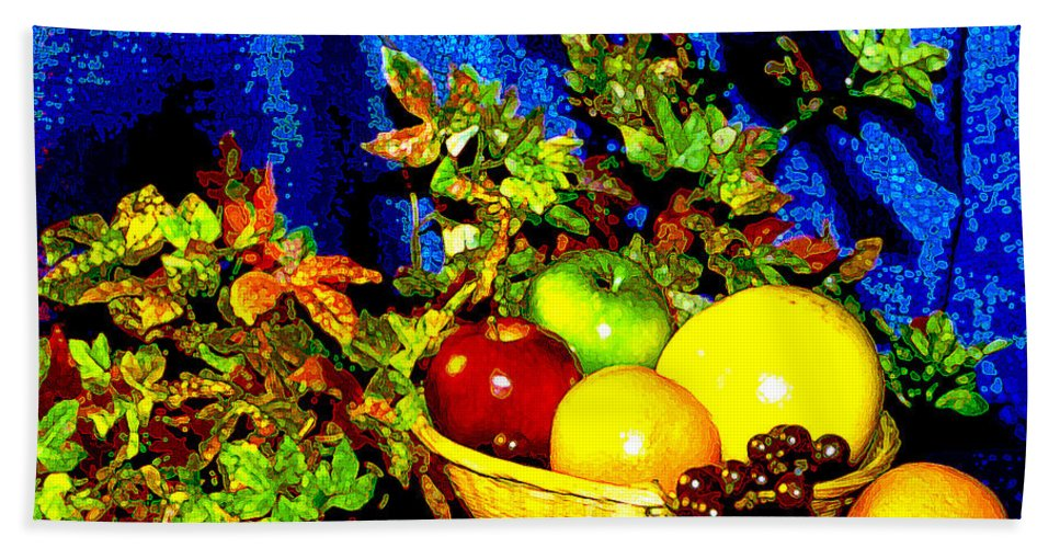 Fruit Bath Sheet featuring the photograph Basket With Fruit by Nancy Mueller