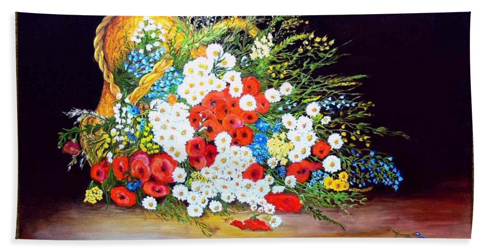 Summer Bath Towel featuring the painting Basket With Summer Flowers by Helmut Rottler