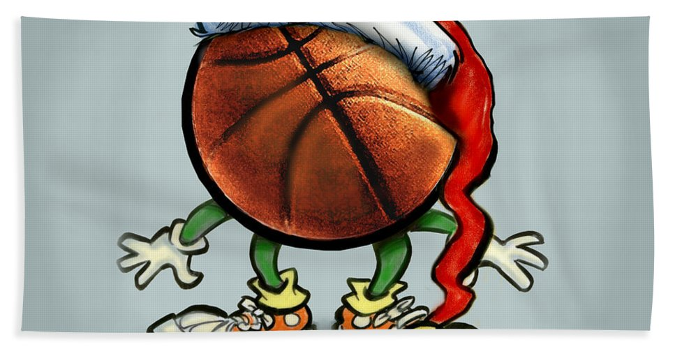 Basketball Hand Towel featuring the greeting card Basketball Christmas by Kevin Middleton