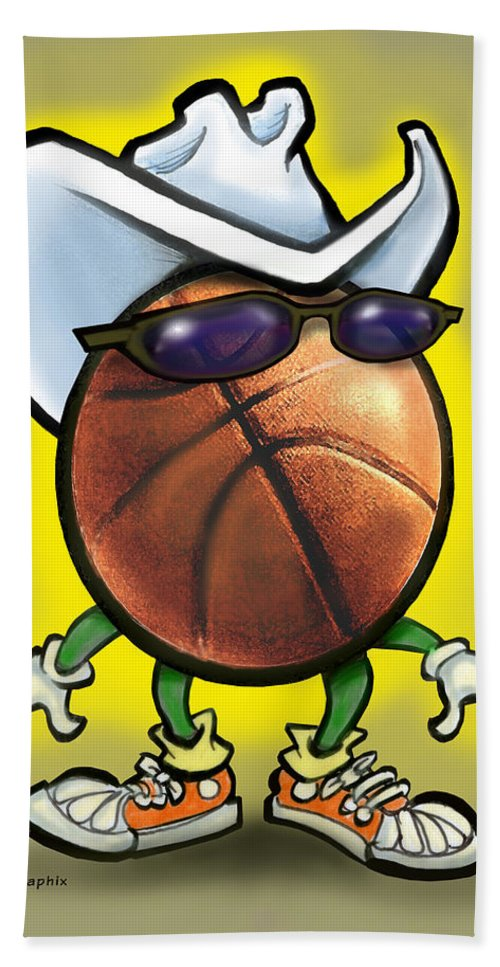Basketball Bath Sheet featuring the digital art Basketball Cowboy by Kevin Middleton