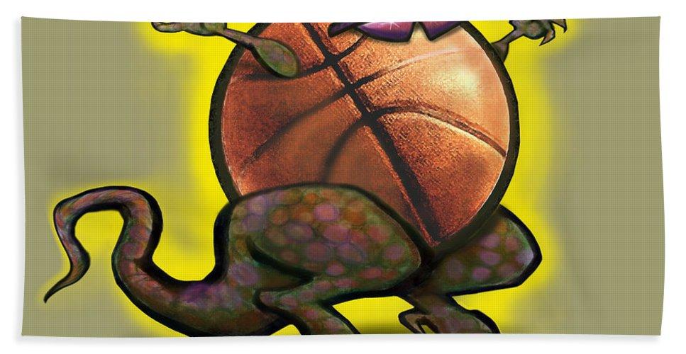 Basketball Bath Sheet featuring the digital art Basketball Saurus Rex by Kevin Middleton