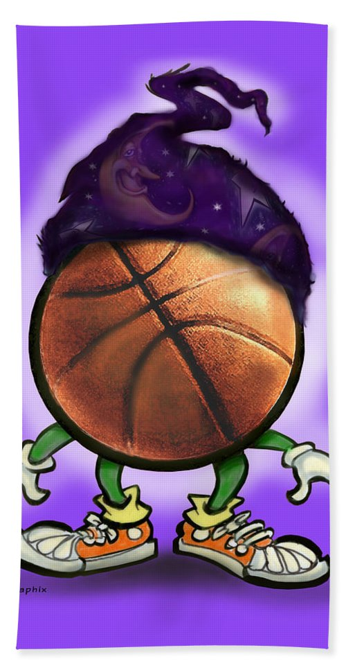Basketball Bath Sheet featuring the greeting card Basketball Wizard by Kevin Middleton