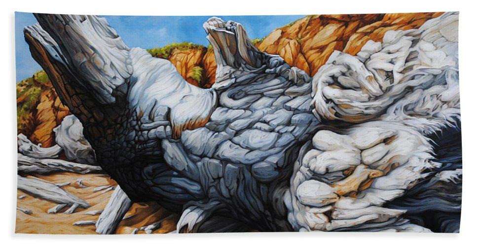 Driftwood Hand Towel featuring the painting Basking In The Sun by Chris Steinken