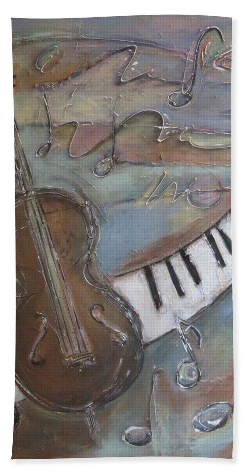 Painting Hand Towel featuring the painting Bass And Keys by Anita Burgermeister