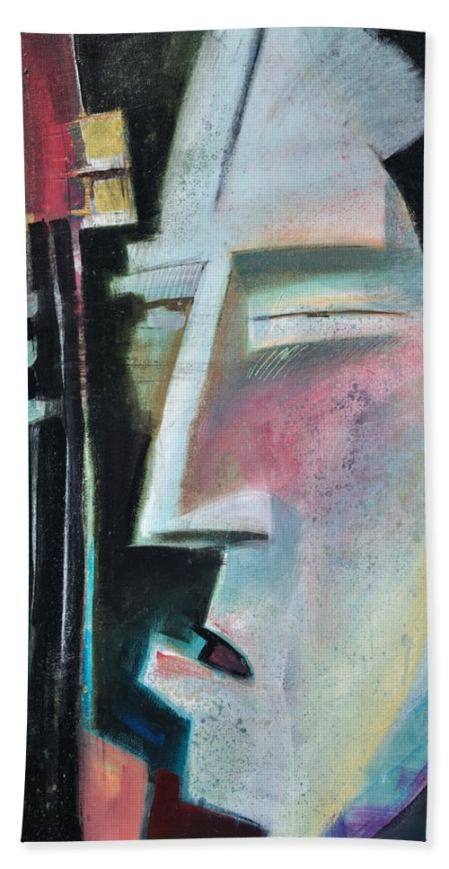 Jazz Bath Towel featuring the painting Bass Face by Tim Nyberg