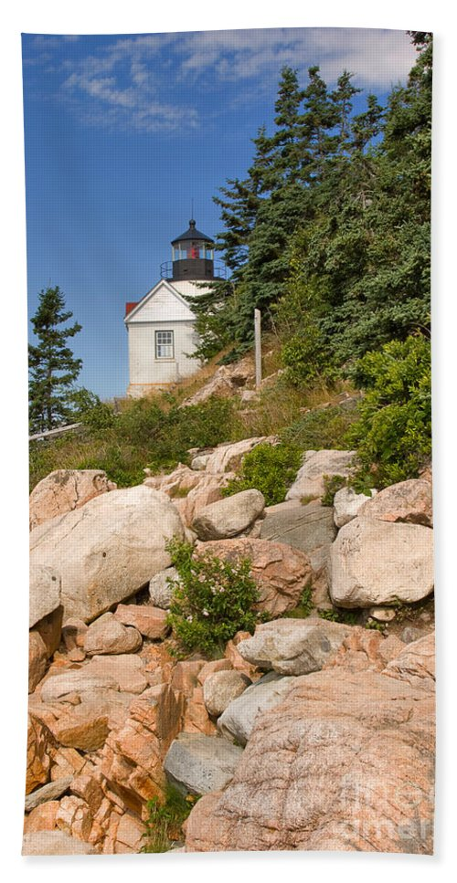Travel Hand Towel featuring the photograph Bass Harbor Lighthouse Mt Desert Island Maine by Louise Heusinkveld