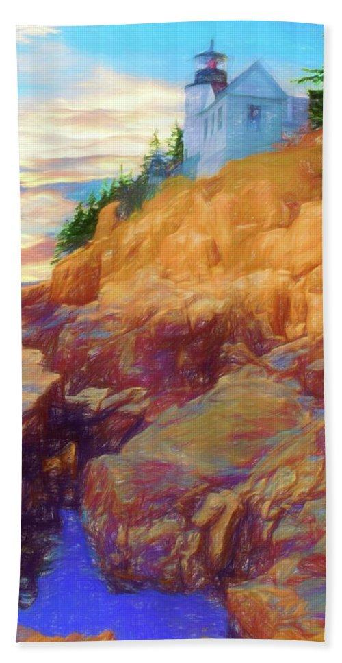 Acadia Nat. Park Bath Towel featuring the digital art  Bass Harbor Lighthouse,acadia Nat. Park Maine. by Rusty R Smith
