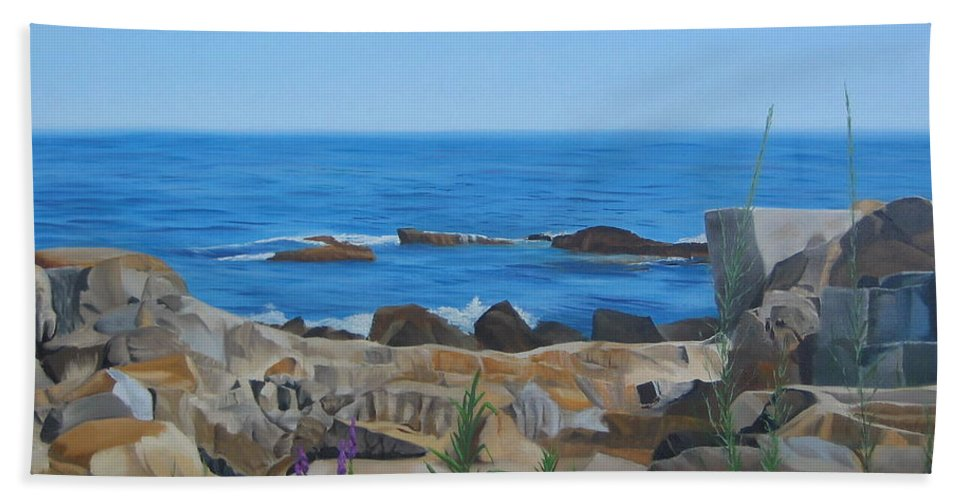 Seascape Hand Towel featuring the painting Bass Rocks Gloucester by Lea Novak