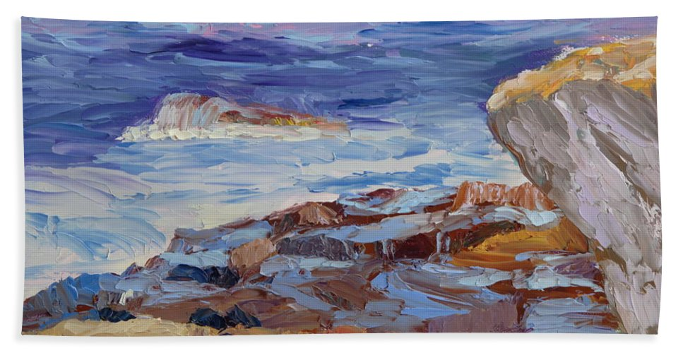 Seascape Painting Hand Towel featuring the painting Bass Rocks by Lea Novak
