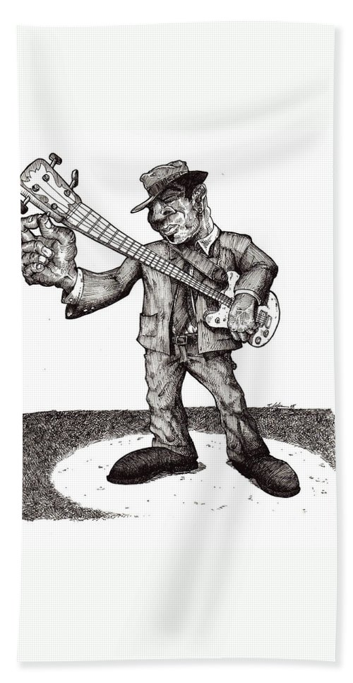 Blues Bath Towel featuring the drawing Bass by Tobey Anderson