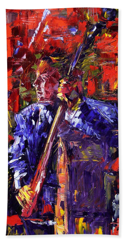 Jazz Bath Towel featuring the painting Bass Walk-up by Debra Hurd