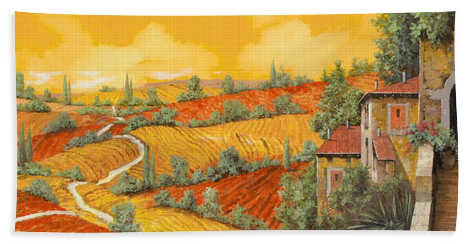 Tuscany Bath Towel featuring the painting Maremma Toscana by Guido Borelli