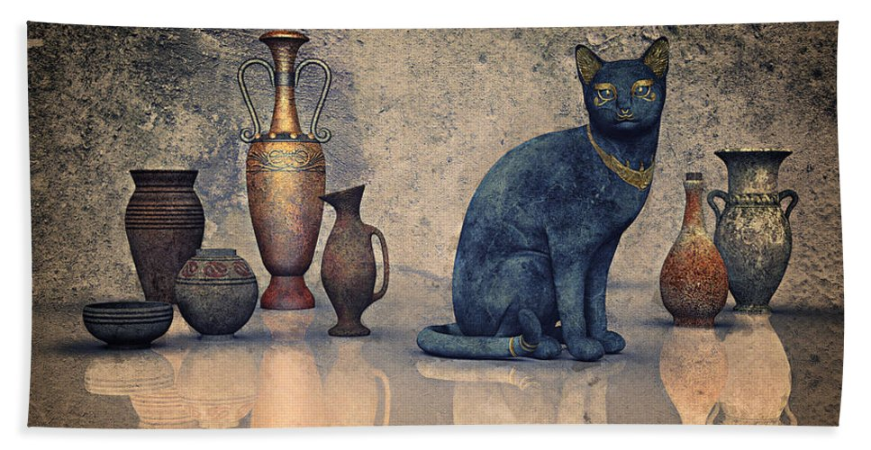 3d Hand Towel featuring the digital art Bastet And Pottery by Jutta Maria Pusl