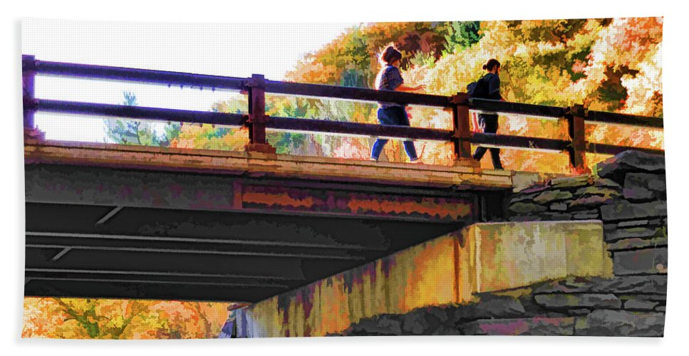 Bastion Falls Bridge Hand Towel featuring the painting Bastion Falls Bridge 1 by Jeelan Clark