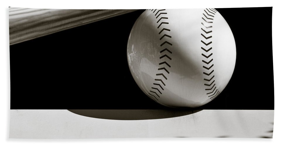 Baseball Bat Hand Towel featuring the photograph Bat And Ball by Dave Bowman