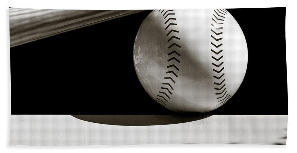 Baseball Bat Bath Sheet featuring the photograph Bat And Ball by Dave Bowman
