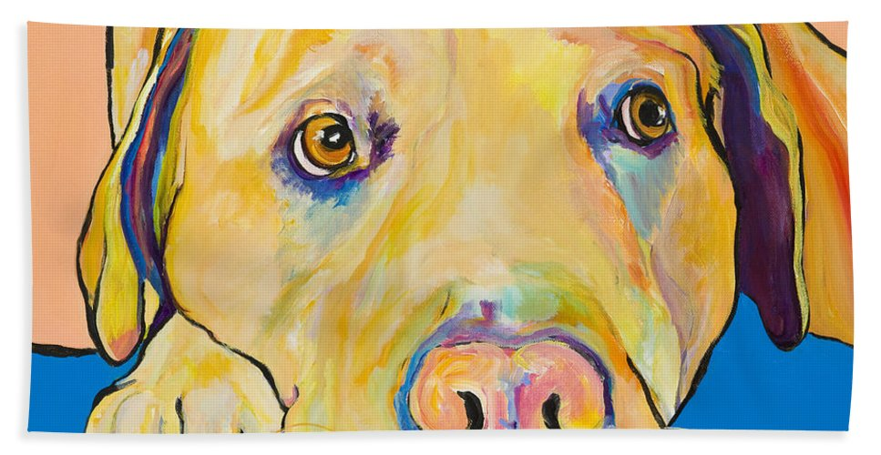 Dog Paintings Yellow Lab Puppy Colorful Animals Pets Bath Sheet featuring the painting Bath Time by Pat Saunders-White