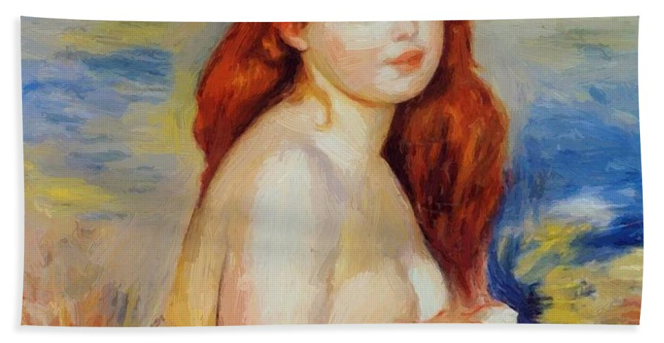 Bather Hand Towel featuring the painting Bather 1887 by Renoir PierreAuguste