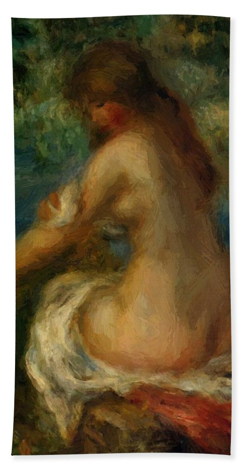 Bather Hand Towel featuring the painting Bather 1905 by Renoir PierreAuguste