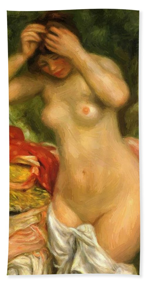 Bather Hand Towel featuring the painting Bather Arranging Her Hair 1893 by Renoir PierreAuguste