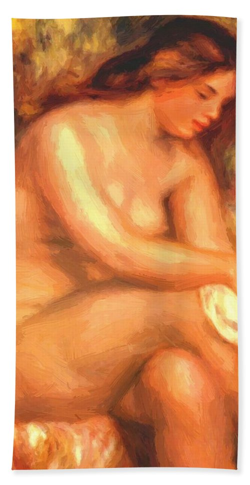Bather Hand Towel featuring the painting Bather Drying Her Leg by Renoir PierreAuguste