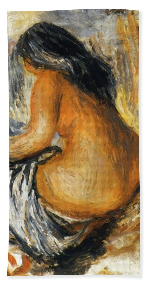 Bather Hand Towel featuring the painting Bather From The Back by Renoir PierreAuguste