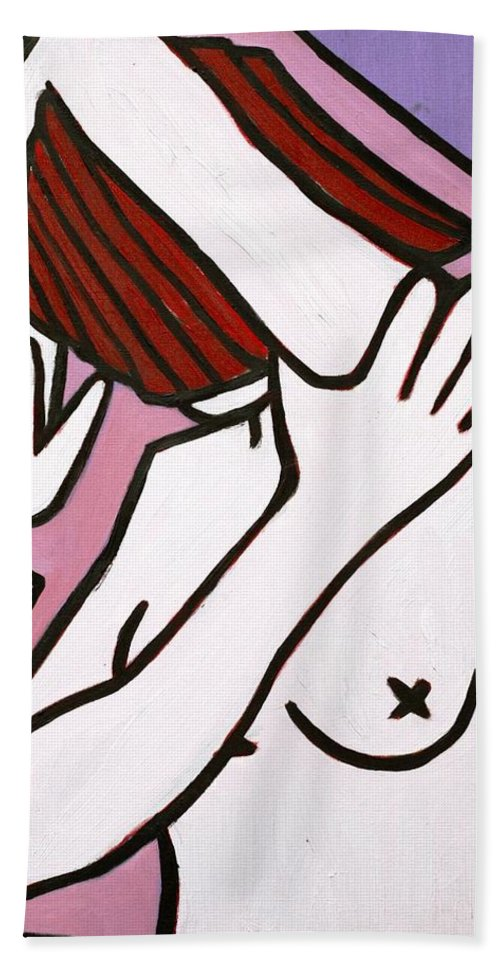 Nude Bath Towel featuring the painting Bather by Thomas Valentine