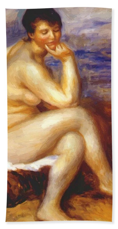 Bather Hand Towel featuring the painting Bather With A Rock by Renoir PierreAuguste