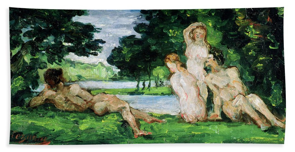 Cezanne Bath Sheet featuring the painting Bathers Male And Female by Paul Cezanne