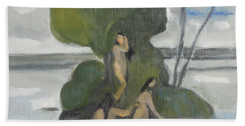 Bathers Hand Towel featuring the painting bathers study I by Nandu Vadakkath