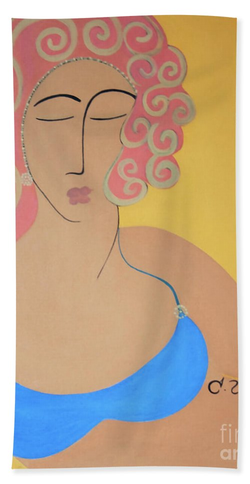#female Hand Towel featuring the painting Bathing Beauty by Jacquelinemari