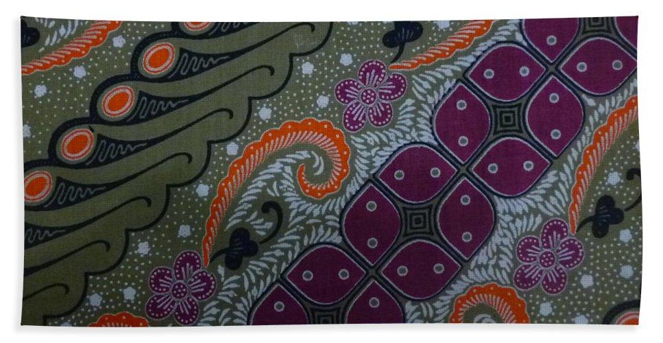 Ethnic Hand Towel featuring the digital art Batik Art Pattern by Retno Musyakimah