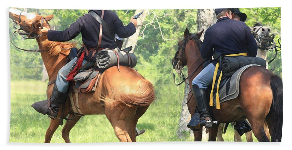Civil War Re-enactment Hand Towel featuring the photograph Battle By Horseback by Kim Henderson