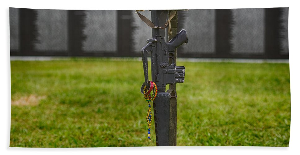 Battle Hand Towel featuring the photograph Battle Field Cross At The Traveling Wall by Paul Freidlund