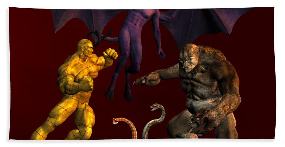 Evil Bath Sheet featuring the digital art Battle Of Good Vs Evil by Carlos Diaz