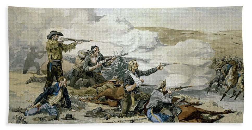 Battle Bath Sheet featuring the painting Battle Of Beecher's Island by Frederic Sackrider Remington