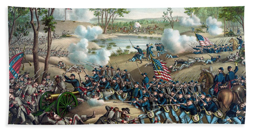 Civil War Bath Sheet featuring the painting Battle Of Cold Harbor by War Is Hell Store