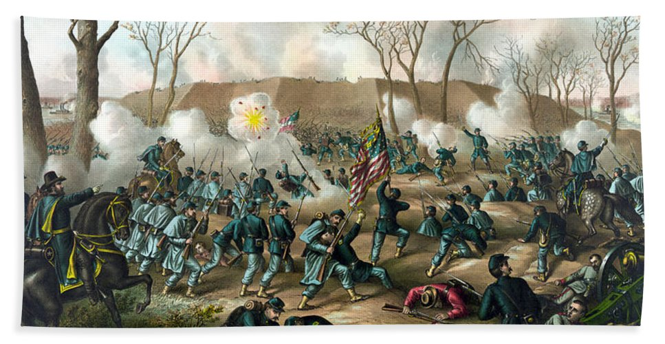 Civil War Hand Towel featuring the painting Battle Of Fort Donelson by War Is Hell Store