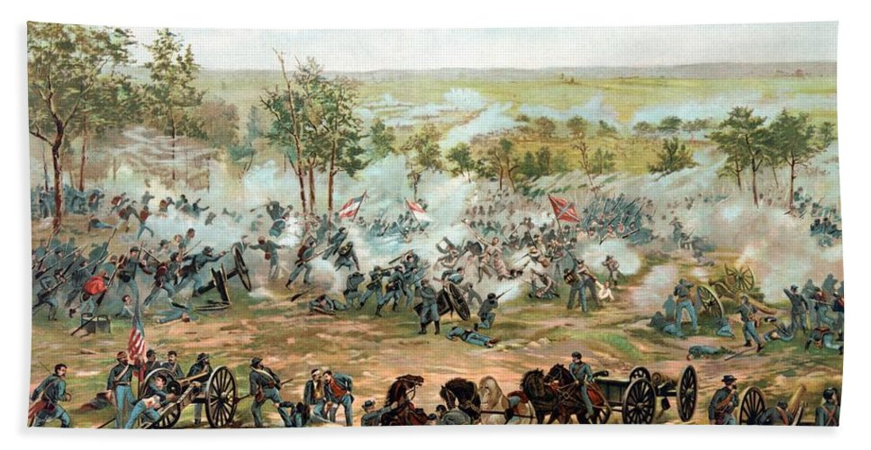 Gettysburg Hand Towel featuring the painting Battle Of Gettysburg by War Is Hell Store