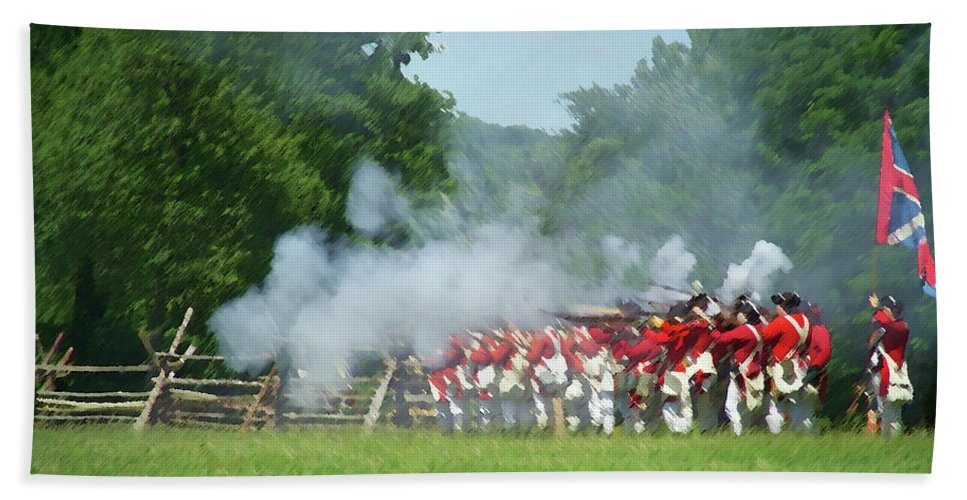 Revolutionary War Bath Sheet featuring the digital art Battle Of Monmouth-redcoats by Barry Blackman