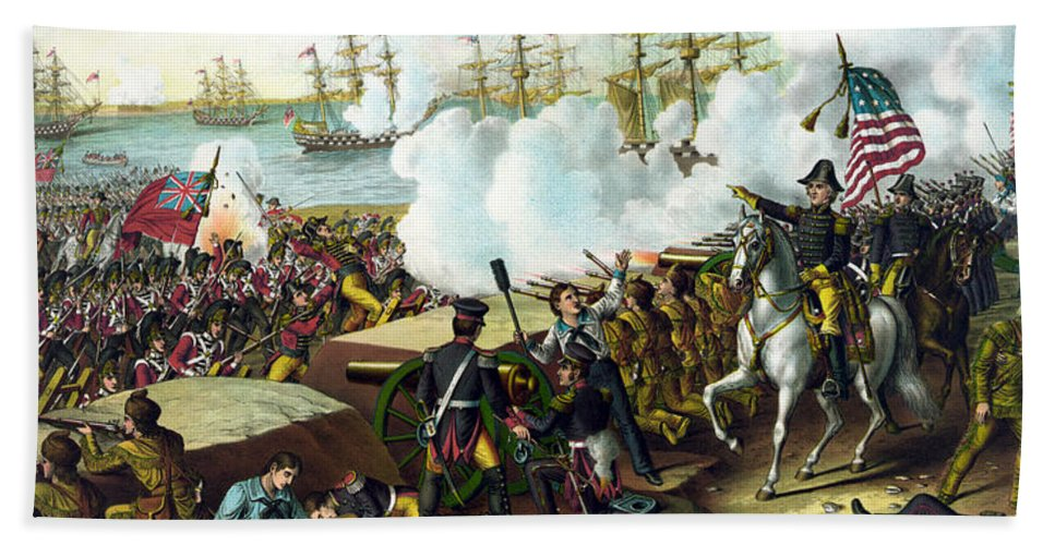 Andrew Jackson Bath Towel featuring the painting Battle Of New Orleans by War Is Hell Store