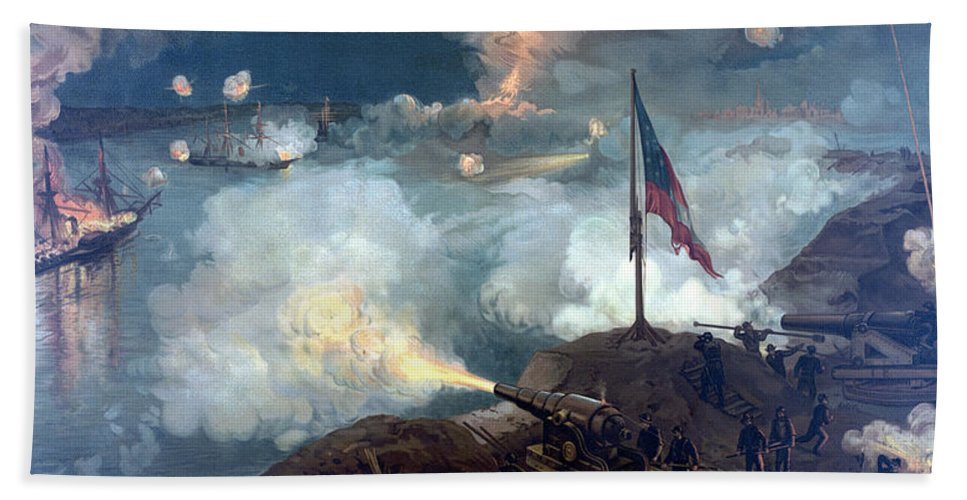 Civil War Hand Towel featuring the painting Battle Of Port Hudson by War Is Hell Store