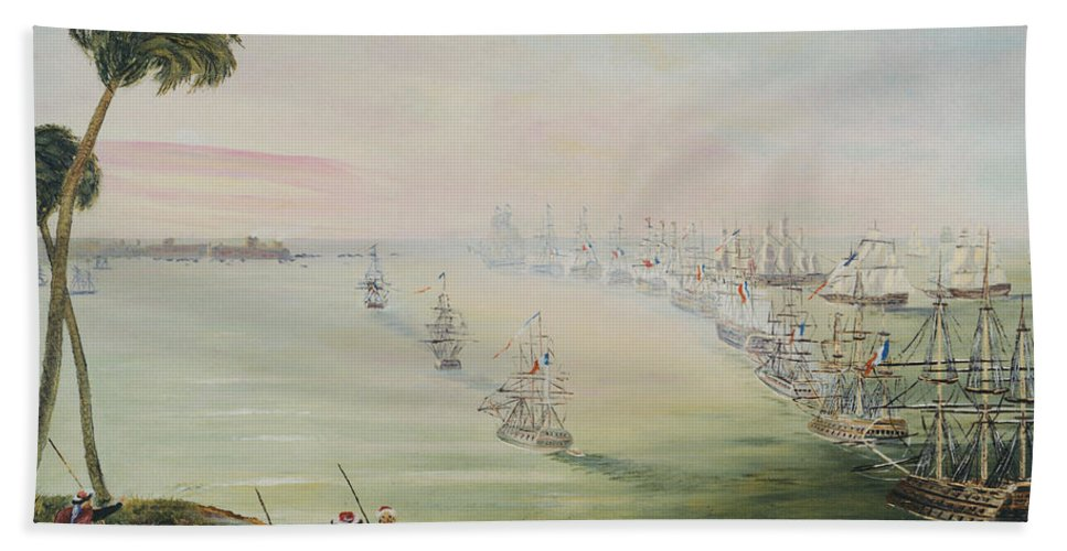 Sea Battle Bath Towel featuring the painting Battle Of The Nile by Richard Barham