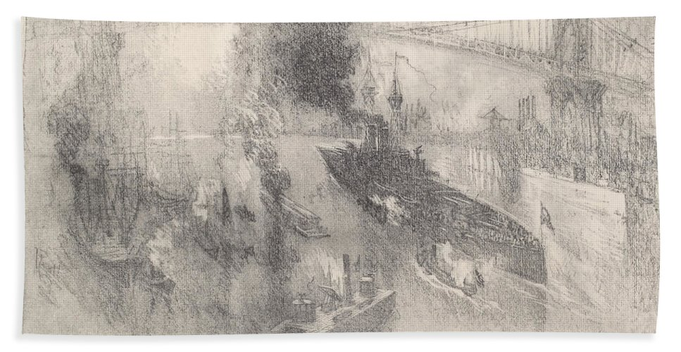 Hand Towel featuring the drawing Battleship Coming Home by Joseph Pennell
