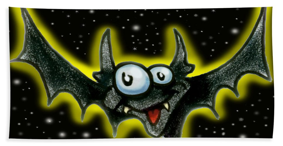 Bat Hand Towel featuring the greeting card Batty by Kevin Middleton