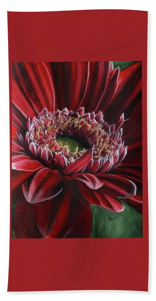 Gerbera Hand Towel featuring the painting Bauble by Barbara Keith