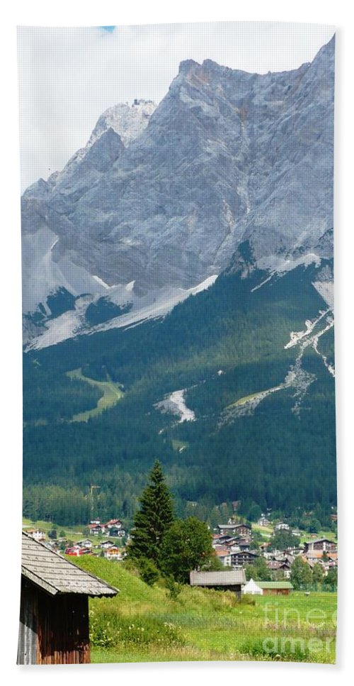 Mountains Bath Towel featuring the photograph Bavarian Alps With Shed by Carol Groenen