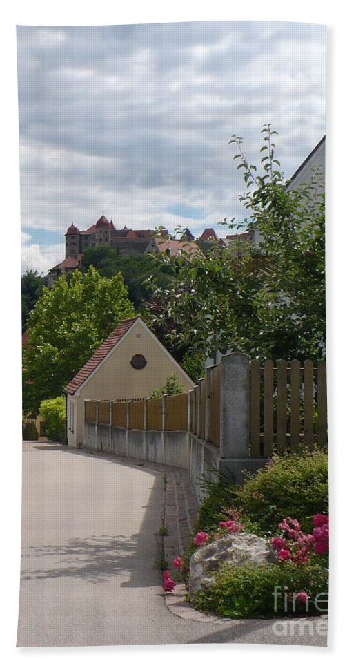 Castle Hand Towel featuring the photograph Bavarian Village With Castle View by Carol Groenen